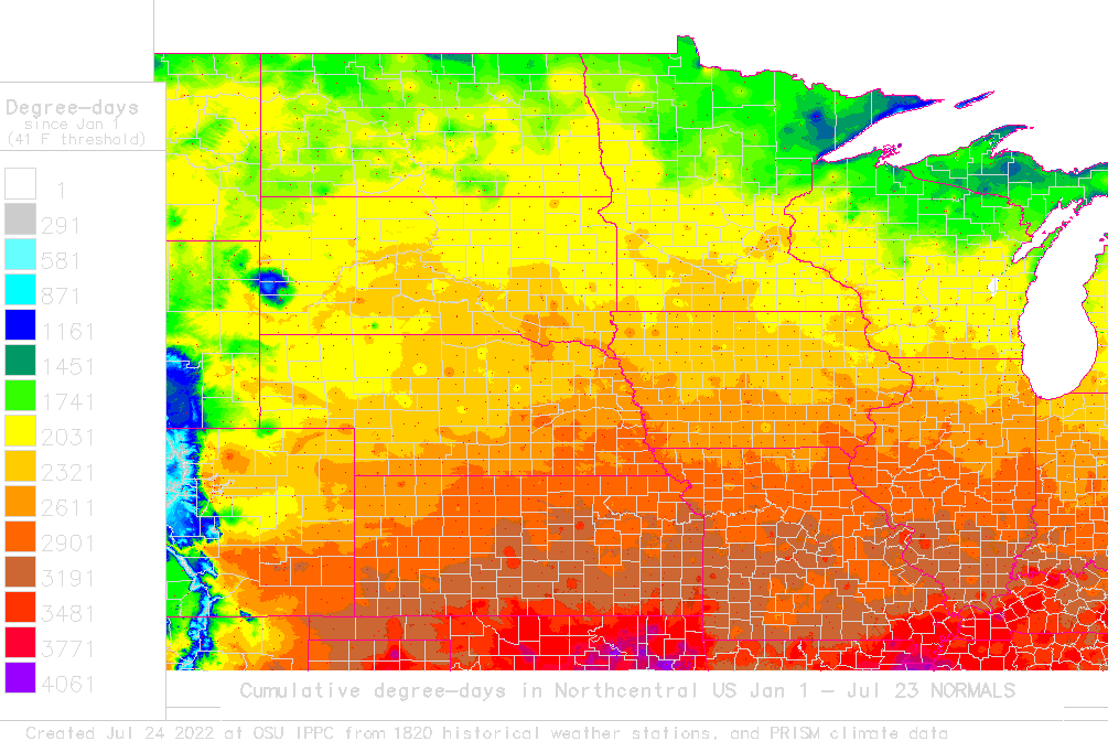 n central us normals to date