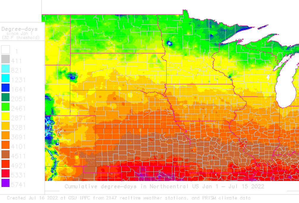 Daily degree-day map and calculator for North Central USA