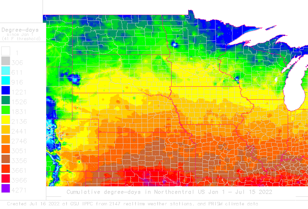 Daily degreeday map and calculator for North Central USA